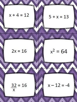 1 Step Equations - 4 Corners Game Math Activity