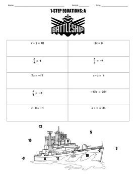 1-Step Equations Battleship