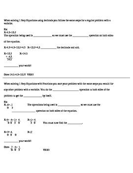1 Step Equations Decimals/Fractions
