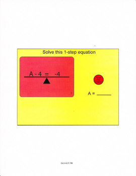 1 Step Equations For The Smartboard