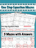 1 Step Algebra Equation Mazes - 3 worksheets