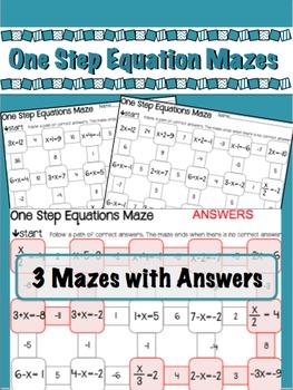 1 Step Algebra Equation Mazes - 3 worksheets