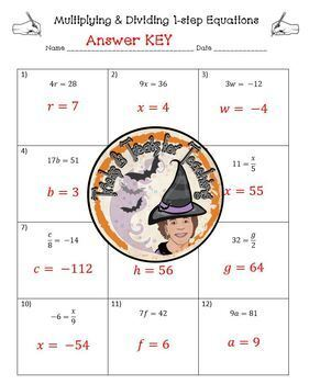 1-Step Equations Multiplying and Dividing One Step Worksheet with Answer KEY