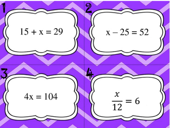 1-Step Equations Task Cards