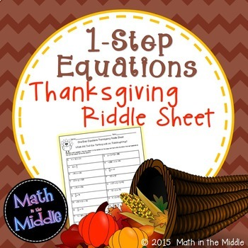 Solving  1-Step Equations Thanksgiving Riddle Sheet