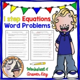 1-Step Equations Word Problems Worksheet with Answer KEY One Step Equations 1