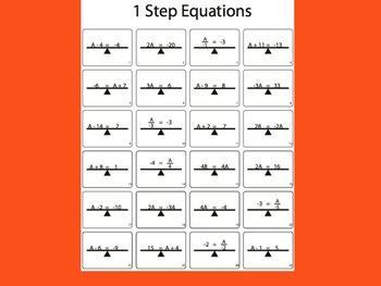 1 Step Equations Worksheet (Black & White)