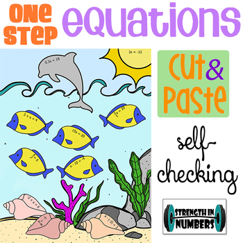 1-Step Equations w/ Integers Cut & Paste Self-Checking Ocean Life Activity