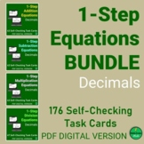 1-Step Equations with DECIMALS Self-Checking Task Card BUN