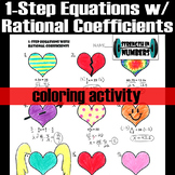 1-Step Equations with Rational Coefficients Valentine's Day Heart Coloring