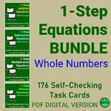 1-Step Equations with WHOLE NUMBERS Self-Checking Task Car