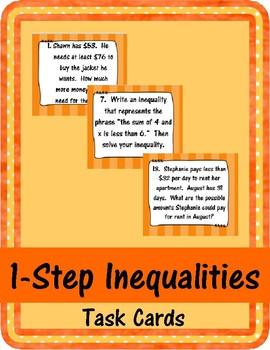 1-Step Inequalities Task Cards