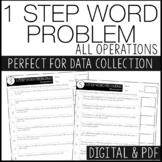 1 Step Word Problems - IEP data tracking, progress monitor