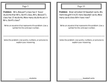 (2.OA.1)1-Step Word Problems Response Booklet - 2nd Grade Common Core Math