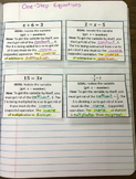 1-Step and 2-Step Equations Foldable Notes SOL 7.14a