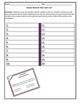 Synonym Task Cards and Editable Assessment: Grade 6-7