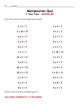1 Times Table Quiz (Multiplication)