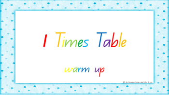 1 Times Table Warm Up ACARA C2C Common Core aligned PowerPoint