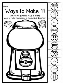 Gumball - Ways To Make A Number 1-20 - NO PREP Cut & Paste Printables