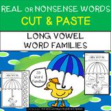 Long Vowel - Real or Nonsense Words - NO PREP Cut & Paste Printables - Raindrops