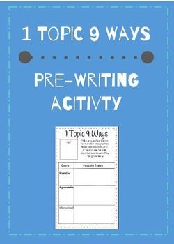 1 Topic 9 Ways Pre-writing Acitivity