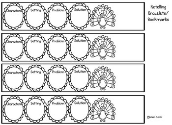 1. Turkey Book Report/Story Elements. Rubrics, Writing Paper, Retelling Bracelet