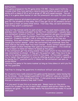 1 VS Everyone - A Grade 7 Curriculum Review Game