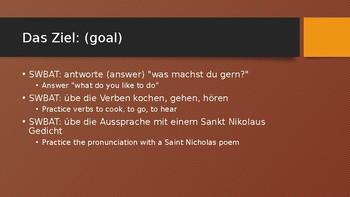 1. Was machst du gern?   2. Verbs kochen, hoeren, gehen   3. Christmas in German