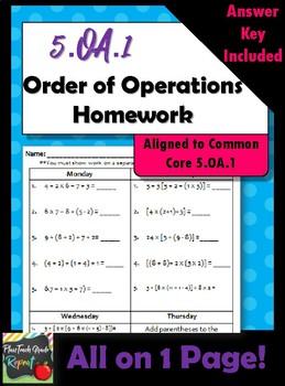 1 Week of 5.OA.1 Order of Operations Homework