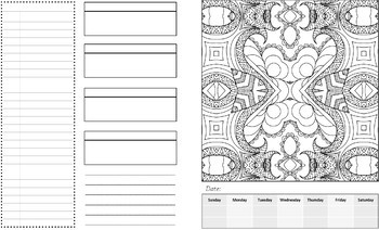 1 Year Coloring and Goal Setting Weekly Planner