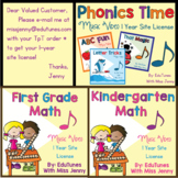 1 Year Site License: Phonics Time, KinderMath, or First Gr