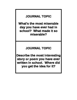 1 Year of Journal Topics (Bell Ringers)
