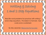 1 and 2 Step Equation Word Problems Task Cards and Worksheet
