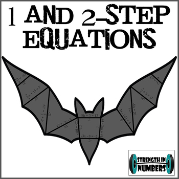 1 and 2 Step Equations Cooperative Bat Puzzle (great of Halloween!)