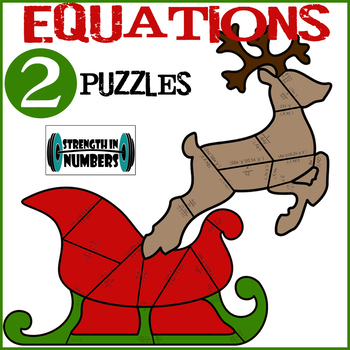 1 and 2 Step Equations Cooperative Christmas Holiday Puzzle