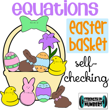 1 and 2-Step Equations Easter Basket Cut Paste Self-Checking Activity