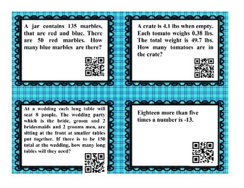 1 and 2 Step Equations QR Code Task Cards