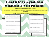1 and 2 Step Equations Word Problems