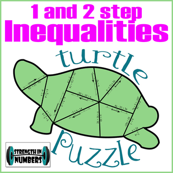 1 and 2 Step Inequalities Cooperative Turtle Puzzle for Display