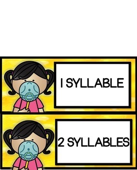 1 and 2 Syllable Words Literacy Center