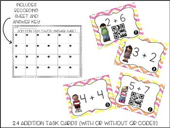 Addition Task Cards (with or without QR codes)