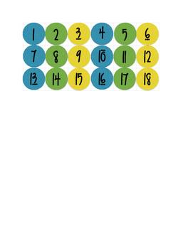 "1"" circles, numbers 1-18"