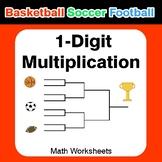 1-digit Multiplication - Basketball Math, Soccer Math, Foo