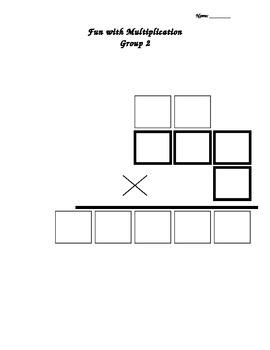 1 digit by 3 digit multiplication graphic organizer