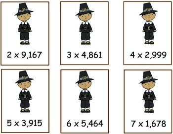 1-digit by 4-digit multiplication Thanksgiving Theme
