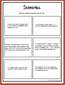 School Counseling Thinking Errors Lesson For Teens In Middle And
