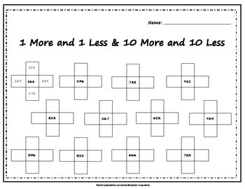 1 more 1 less 10 more 10 less & Number Grid Puzzle