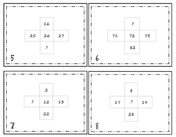 1 more 1 less 10 more 10 less & Number Grid Puzzle Task Cards/Scoot