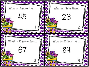 1 more, 1 less, 10 more, 10 less task cards, worksheets, 100's chart