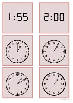 Time - 1 o'clock to 2 o'clock by 5  minute intervals